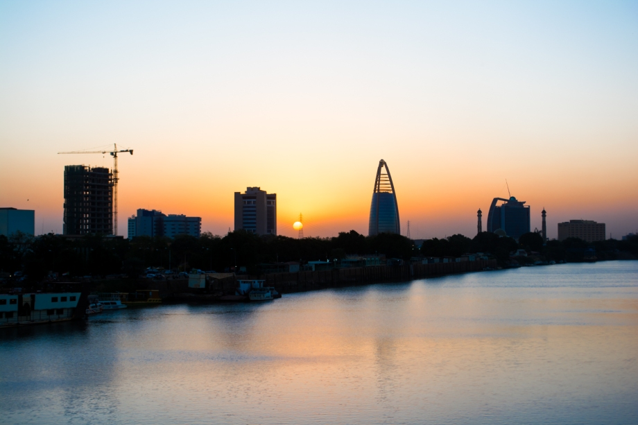 Khartoum Skyline: sunset over the blue Nile.